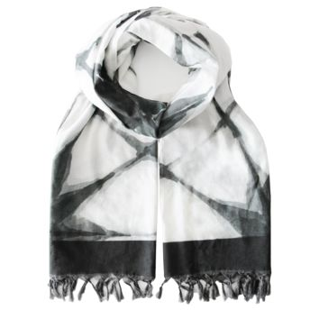 Summer Blanket Scarf - Black Shibori - Damaged