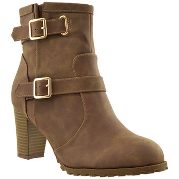 Womens Gold Buckle Ankle Booties Brown