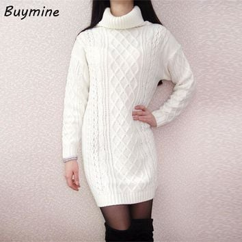 Knitted Winter Warm Dress 2017 Women Winter Turtleneck Sweater Dress White Knitted Warm Dress