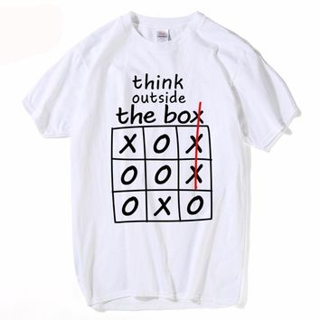 Think Outside The Box Tic-Tac-Toe T-Shirts - Men's Short Sleeve Crew Neck Novelty Tops