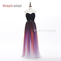 Vivian's Bridal Elegant Sweetheart A-Line Colorful Long Evening Dresses New Arrival Formal Chiffon Evening Gown SH01