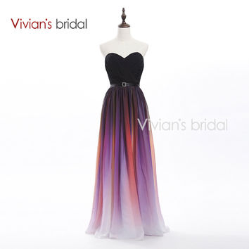 Vivian's Bridal Elegant Sweetheart A-Line Colorful Long Evening Dresses 2016 New Arrival Formal Chiffon Evening Gown SH01