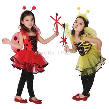Retail Cute Ladybug fairy halloween costumes for kids girls dresses, little girl Dragonfly dance costumes,girls princess costume