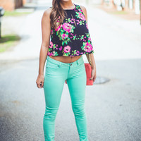 Neon Floral Tank in Black