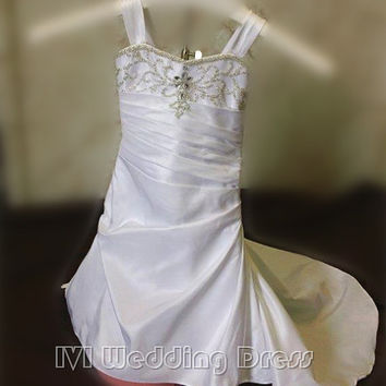 Real Photos Lace-up Fit and Flare Flower Girl Dresses with Train Miniature Bride Dresses with Beadings
