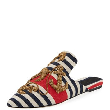 Sanayi313 Striped Anchor-Embroidered Mule