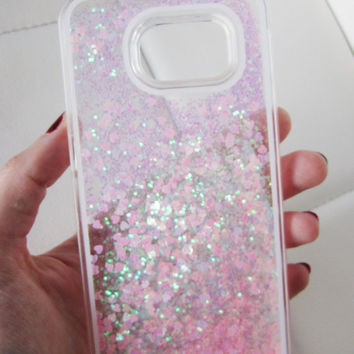 Samsung Galaxy S6 pink case clear liquid glitter hipster heart iridescent geometric sequins floating liquid waterfall phone case US seller