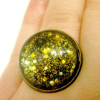 Black and Gold Asteroid Glass Glitter Sparkly Ring Space Jewelry Galaxy Jewelry Sci Fi Fantasy Jewelry Geekery Science Fashion Chic