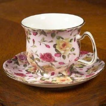 Rare Pink Newport Rose Chintz Porcelain Teacup and Saucer - Only 1 Available!