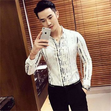 Luxury Gold Shirt Men Long Sleeve Navy Party Club Elegant Night Bar Stage Clothing Male Shirt Chemise