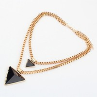 Layered Triangle Rhinestone Pendant Necklace - OASAP.com