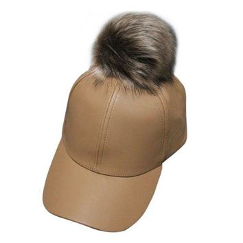 PEAPU3S Women Unisex Baseball Cap  Ball Suede Adjustable Cap with real fur PU Leather pom poms brand new female Autumn cap
