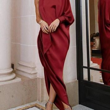 New Burgundy Maroon Pleated Irregular Asymmetric Shoulder Side Slits Elegant Prom Evening Party Maxi Dress