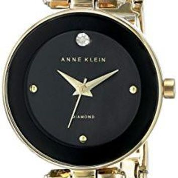 Anne Klein Women's Watch AK/1980BKGB Diamond-Accented Dial Black and Gold-Tone Bangle Watch