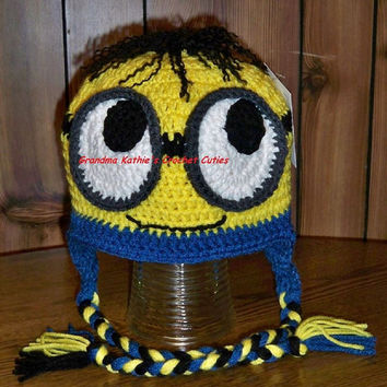 Handmade, Minion Hat, crochet, Despicable me hat,0-6 m. 6-12 m. 1-3 years. 4+ years