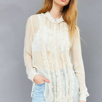 Kimchi Blue Sheer Ruffle Button-Down Blouse - Urban Outfitters