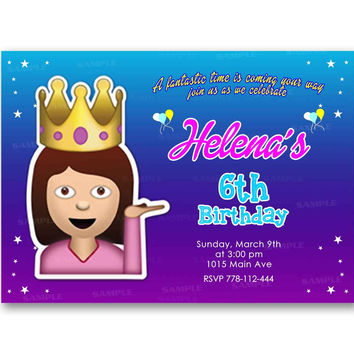 Cute Funny Emoji Queen Colorful Kids Birthday Invitation Party Design