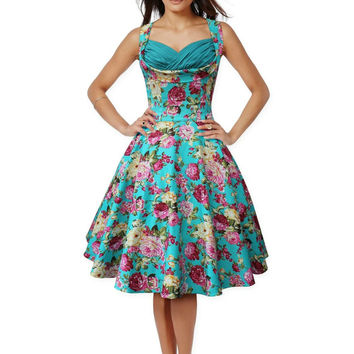 Audrey Hepburn style vintage sleeveless ruched bust big swing floral dress robe vestidos women party prom cocktail 50s dresses