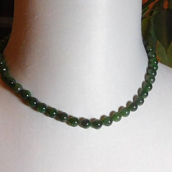 Stone Bead Choker Necklace, Green Aventurine Beads, 18 inches, Vintage