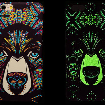 So Cool Night King Bear Animal Handmade Carving Luminous Light Up iPhone Cases for 5S 6 6S Plus Free Shipping