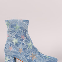 Star Print Denim Blocked Heeled Ankle Boots