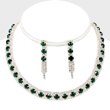 "12"" green crystal necklace 1.75"" earrings prom bridal pageant"