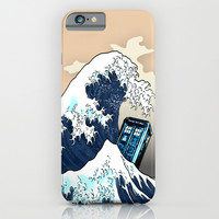 Blue phone Box Vs The great Big Wave iPhone & iPod Case by Greenlight8