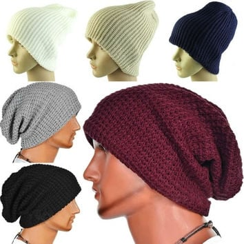 Chic Men Women Warm Winter Knit Ski Beanie Skull Slouchy Oversize Cap Hat Vogue = 1958080516