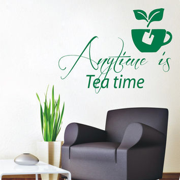 Tea Cup Wall Decals Quote Anytime Is Tea Time Kitchen Words Cafe Interior Design Home Vinyl Decal Sticker Art Mural Living Room Decor kk841