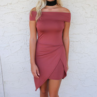 Kiss Me Brick Off The Shoulder Mauve Dress