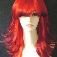 Long Tappered Style Flaming Red with Black Tips Fashion Wig (out of stock)