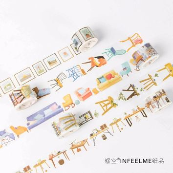 1Pcs Big Home Furniture Series Washi Tape Masking Tape Decoration DIY Sticky Self Adhesive Tape Scrapbook Tape 5M M0317