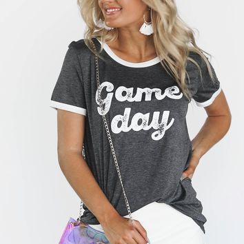 Charcoal Game Day Ringer Tee