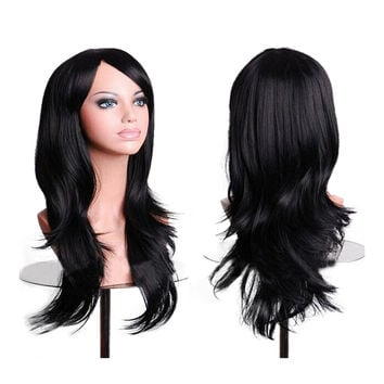 "27.5"" 70cm Long Wavy Curly Cosplay Fashion Mermaid Fantasy Wig heat resistant  black"