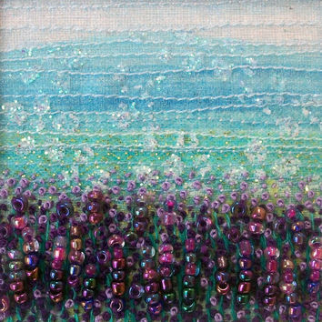 Beaded and embroidered card - Lavender landscape - fabric landscape - fibre art card  -  french knots - 5 inch square card