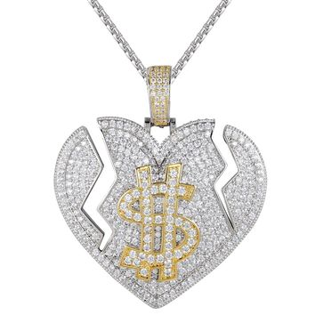Men's 3D Broken Heart Love For Dollar Iced Out Pendant