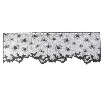Spider Design Black Lace Bat Pattern Tablecloth Fireplace Cloth Scarf Lamp Cover Cloth Cool Halloween Door Curtain Festival