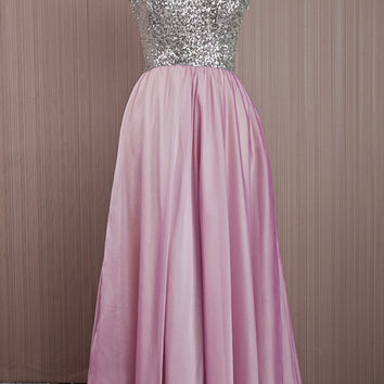 Silver Sequin Long Gown / Pink Prom Dress / O-Neckline Chiffon Bridesmaid Dress / Formal Elegant Evening Dress / Homecoming Pink Dress