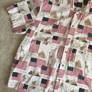 Anerican flag shirt button up dress shirt short sleeve size XL freedom costume cotton traders sport flags vintage statue of liberty