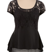 Lace Top Chiffon Zip Back Top