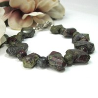 Bloodstone Jasper Gem Chunky Bracelet Olive Green Red Small Medium