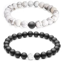 "Couples His and Hers Bracelet Black Matte Agate & White Howlite 8mm Beads By Long Way 7.1""&7.5"""