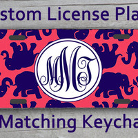 Custom Monogrammed personalized license plate. Lily Pulitzer Elephant inspired Vanity car tag #1016