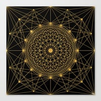 Geometric Circle Black and Gold Canvas Print by Fimbis