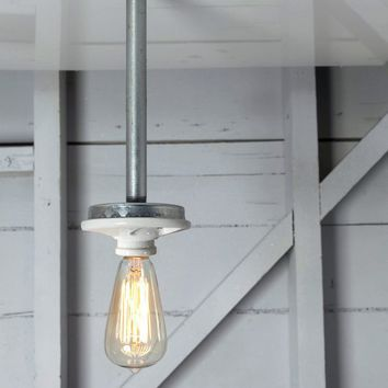 Pendant Pipe Light - Bare Bulb Lamp - Schoolhouse