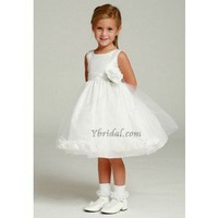 Ball Gown Scoop Floor-length Satin and Tulle Flower Girl Dress FBG0032