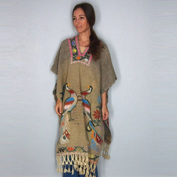 Vintage 70's Mexican Embroidered Peacock Fringe Colorful Floral Hippie Boho Ethnic One size Poncho S M L XL