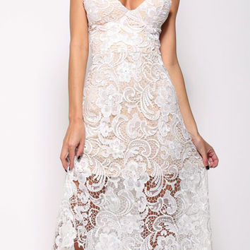 White Floral Lace Strapless Midi Dress