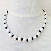 Lola All Over Pearl Leather Necklace