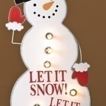"40"" Lighted Whimsical Snowman ""Let it Snow"" Christmas Yard Art Decoration"